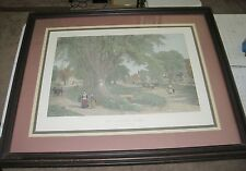 "Albert Fitch Bellows ""The Village Elms, Sunday Morning In New England"" engraving"