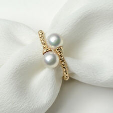 White Double Akoya Sea Cultured Pearl Ring 18k Yellow Gold 6-6.5mm Adjustable
