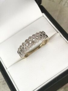 Pretty 9ct Yellow Gold Double Row Diamond Band Ring Size O Item ~ A9904