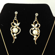 Pearl Jewelry Sets Wedding Accessories Gold Silver Plated Necklace Earrings