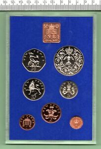 1977 EIGHT PIECE U.K. PROOF COIN YEAR SET IN ORIGINAL CASE