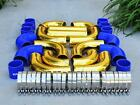 12 Pcs 3 Universal Gold Intercooler Piping Red Silicone Coupler Clamp Kit