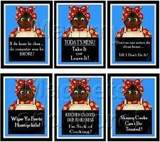 SET OF SIX - Black Americana MAGNETS - Mammy Humor Sayings - SHIPPING FREE!