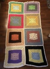 @Handmade Crochet Afghan - Knit Lap Couch Throw Blanket- Block Pattern 65x36@