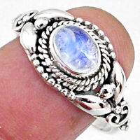 1.47cts Natural Rainbow Moonstone 925 Silver Solitaire Ring Size 8.5 R64874