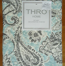 Thro AQUA Blue GRAY PAISLEY Quilted THROW BLANKET Plush Sherpa Ivory Grey 50x60""
