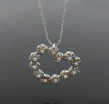 VINTAGE 14KT. WHITE GOLD HEART DIAMOND  NECKLACE UNUSUAL DESIGN