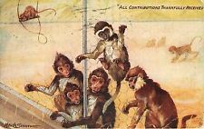 1908 Printed posted Tuck's Postcard The Monkey House 9490, A/S Maude Scrivener