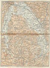 Carta geografica antica TEVERE da PERUGIA a TODI Umbria TCI 1923 Old antique map
