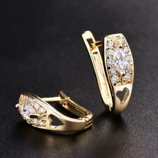 18K Gold Filled White Sapphire Crystal Women Vintage Charms Hoop CZ Earrings