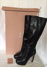 miu miu  Prada Black Leather Platform Knee High Boots BNIB UK 6 EU 39