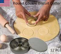 Round Cookie Biscuit Cutter Set 12 Pcs Pastry Stainless Steel Metal Molds