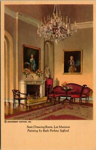 Vtg State Drawing Room Lee Mansion Painting by Ruth Perkins Safford Postcard