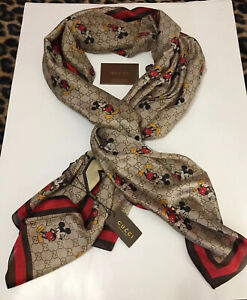 NWT GUCCI Mickey Mouse Logo 100% Silk Scarf Authentic With Gift Bag Light Brown