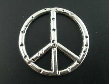 10 x PEACE / CND CHARMS - 24mm dia - SILVER TONE - SAME DAY FREE POSTAGE