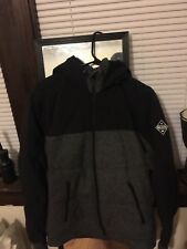 Hollister Fur Lined Jacket Hoodie Black Men's Medium Full Zip