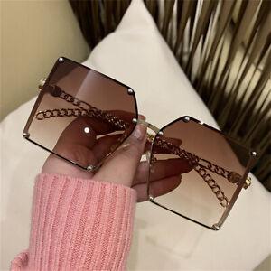 Mode Luxus übergroße eckige Sonnenbrille Frauen Vintage Farbverlauf Brille UV400