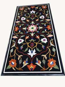 "48"" x 24"" Marble Coffee Table Top Pietra Dura Inlay Handmade Work"