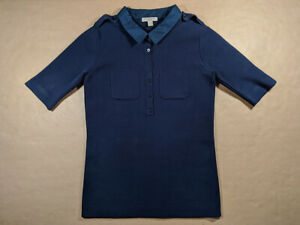 BURBERRY Brit navy cotton knitted top size S