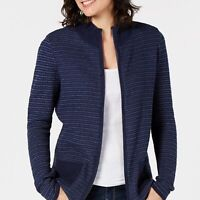 Karen Scott Women's Textured Zip-Front Cardigan Blue Size 2 Extra Large