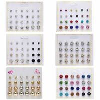 Charm 12Pc Earrings Colorful Crystal Pearl Ear Stud Earring Set Women Jewellery