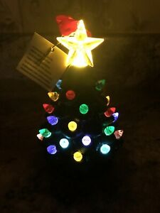 """Mr Christmas Ceramic Solid Green Christmas Tree Ornament Lighted Timer 5"""""""