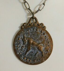 Copper Taurus the Bull Zodiac Double-side Large Pendant Necklace Vintage