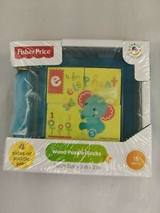 """Fisher Price Wood Puzzle Blocks 3"""" 4 Sided"""