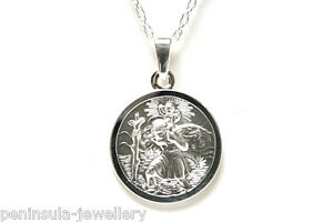 """Sterling Silver St Christopher 16mm Pendant and 18"""" chain, Gift Boxed Birthday"""