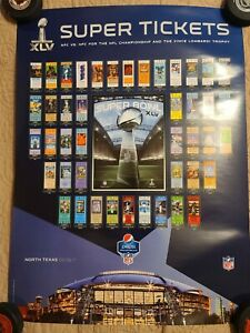 """Super Bowl XLV Super Tickets 24 x 36"""" Trophy Poster Green Bay Packers"""