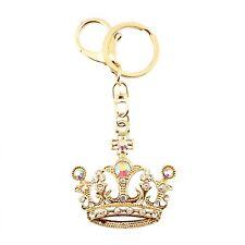 Gold Crown Crystal Princess Queen Charm Pedant Purse Key Chain