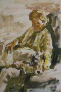 1960's FRENCH IMPRESSIONIST Portrait Painting by MARIUS WOULFART 1905-1991