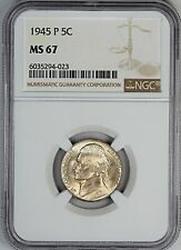 1945-P NGC MS 67 United States Jefferson Nickel - Silver Wartime