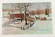 1969 Vintage Postcard Olde Time Winter Scene Heart of Dutchland by Louise Frank