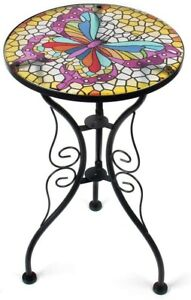 Outdoor End Table Furntiure Side Accent Patio Round Black Glass Top Metal Small