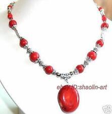 cadeau d'anniversaire , natural rouge corail, pendentif, collier, 44 cm
