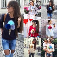 Women Ladies Long Sleeve Plush Sweater Pullover Hoodie Sweatshirt Jumper Top#