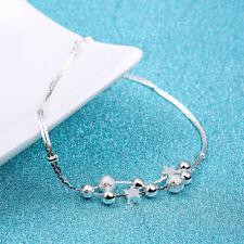 New Women Fashion 925 Sterling Silver Star Cuff Charm Chain Bracelet Jewelry