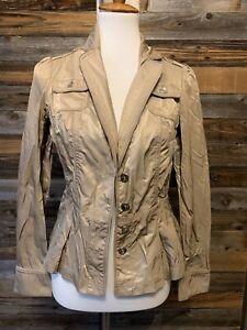 Women's Gold Blazer Military Jacket White House Black Market Size 4
