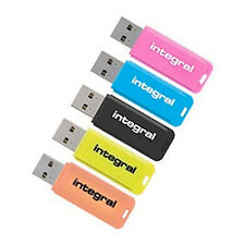 New Integral 8GB Neon USB Flash Drive Memory Stick Pen Thumb New Uk 5 Pack