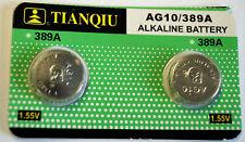 LOT 2 PILES BOUTON PLATE ALKALINE 1.55V AG10/389A POUR MONTRE PDA