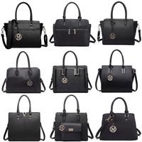 Ladies Girls Fashion Designer PU Leather Handbag Tote Shoulder Black Bag