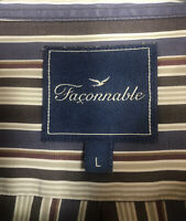 Faconnable Mens Button Down Shirt Size Large Brown Beige Striped Long Sleeve
