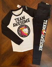 "NWT Justice Girls ""Team Awesome"" Unicorn LS Tee & Leggings Outfit!  Choose Size!"