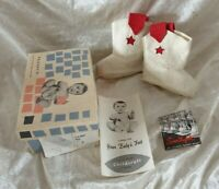 Vintage 1960s Children Cowboy boots fabric, with box, shoes