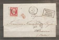 LETTRE SMYRNE TURQUIE TO ITALY 18/08/1863 FRANCE N°24 OBLITERE USED GC 5098