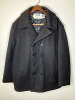Schott NYC Classic Melton Wool US Navy Black Peacoat Style 740N Mens 48 USA Made