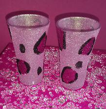 2 Brillo Rosa Leopardo Vasos de Chupito presente Boda Cumpleaños Navidad