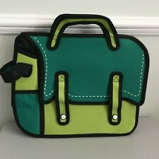3D Jump Style Bag 2D Drawing Comic Cartoon Satchel Shoulder Strap Green/Black