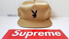 Supreme Playboy Satin 5-panel cap GOLD snapback hat NYC 2016 Adult sz
